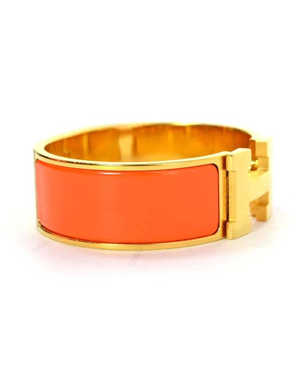 Hermes Orange Enamel Wide H Clic Clac PM Bracelet GHW 2