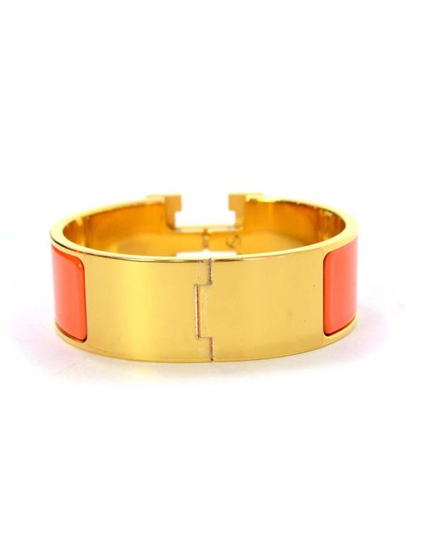 Hermes Orange Enamel Wide H Clic Clac PM Bracelet GHW 3