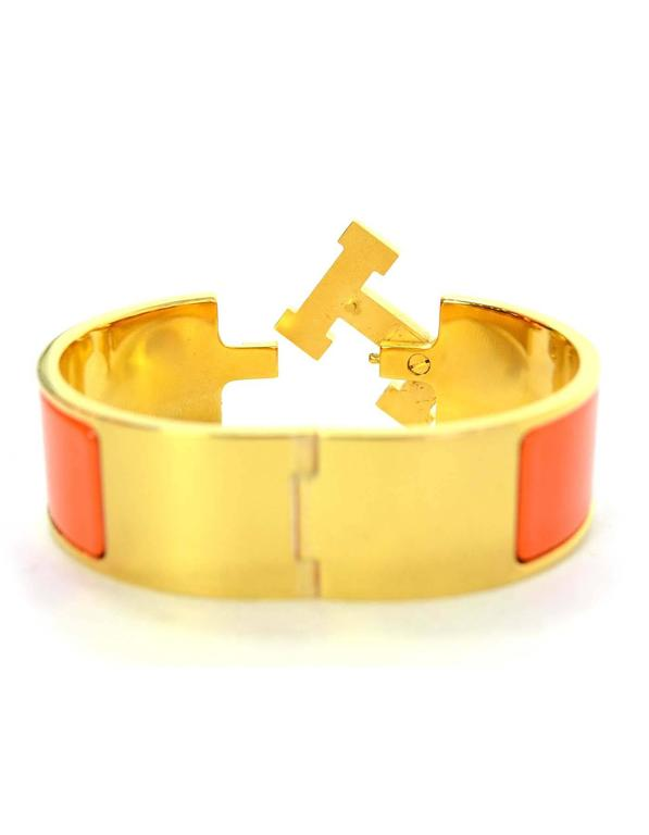 Hermes Orange Enamel Wide H Clic Clac PM Bracelet GHW 4