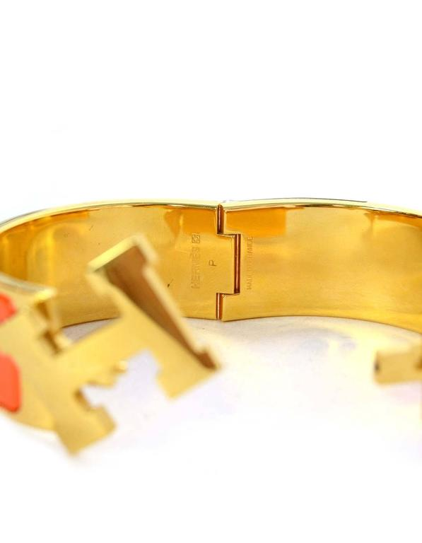 Hermes Orange Enamel Wide H Clic Clac PM Bracelet GHW 5