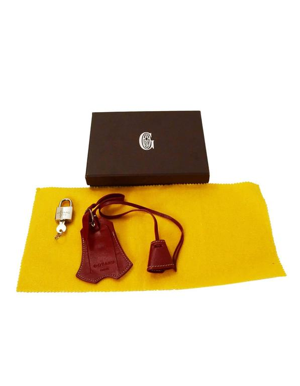 Goyard Red Leather Clochette & Luggage Tag SHW In Excellent Condition For Sale In New York, NY