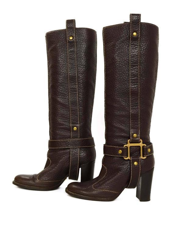 Black Dolce & Gabbana Brown Leather Tall Boots sz 35 For Sale