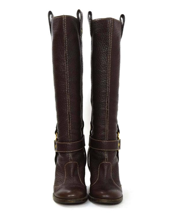 Dolce & Gabbana Brown Leather Tall Boots sz 35 In Excellent Condition For Sale In New York, NY