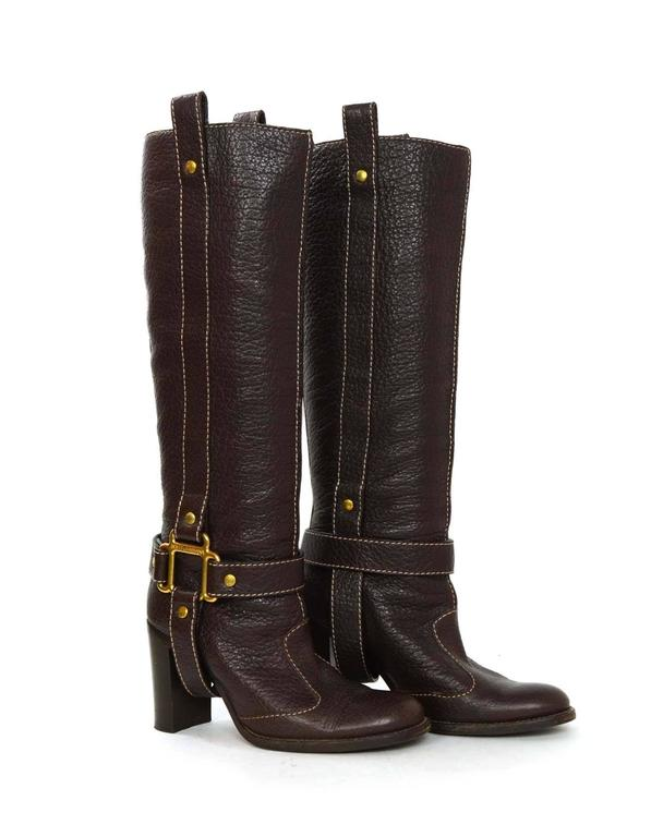 Women's Dolce & Gabbana Brown Leather Tall Boots sz 35 For Sale