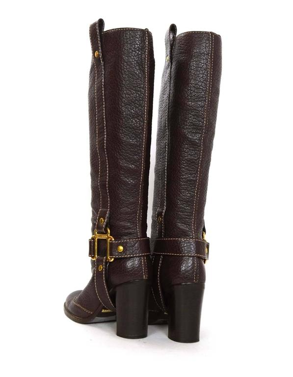 Dolce & Gabbana Brown Leather Tall Boots sz 35 For Sale 1