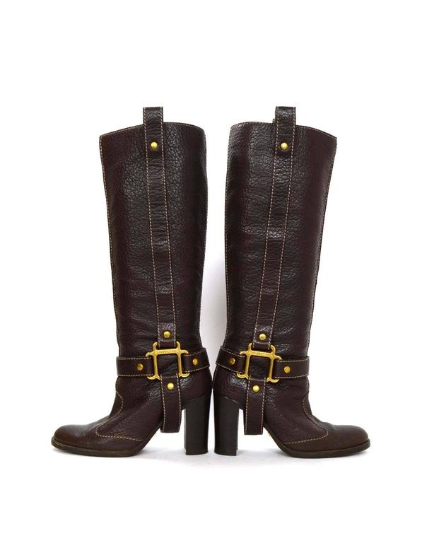 Dolce & Gabbana Brown Leather Tall Boots sz 35 For Sale 2
