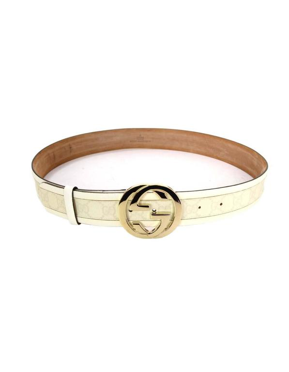 Gucci Monogram White Leather And Canvas Belt Sz L Shw At