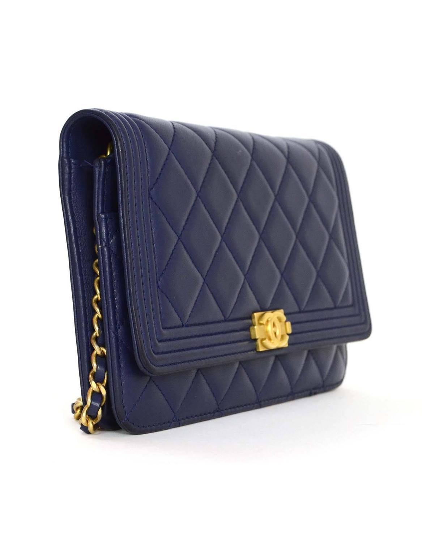 3f3c1718f920e Chanel Navy Lambskin Boy Wallet On Chain Woc Bag Ghw At 1stdibs