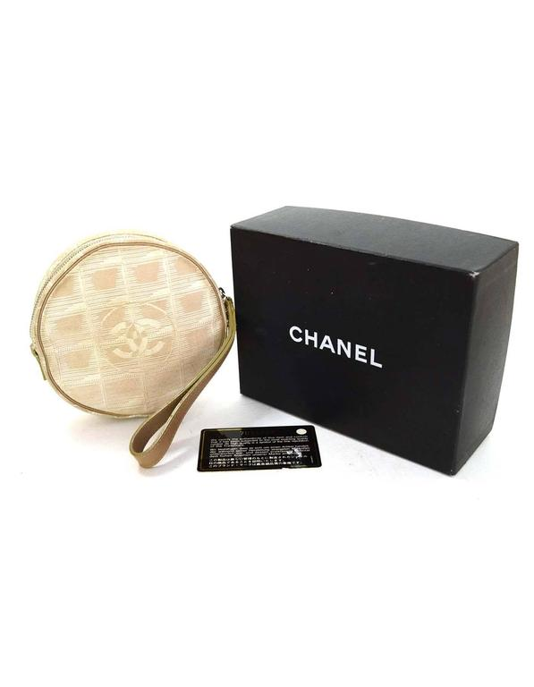 Chanel Ivory Canvas Travel Ligne Circle Pochette SHW 7