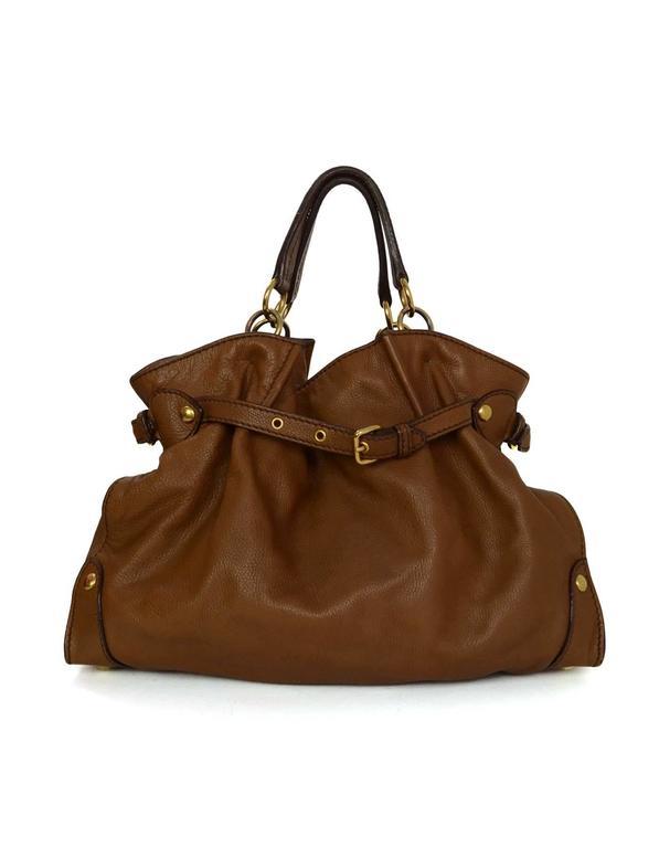 Brown Miu Miu Tan Leather Belt Buckle Tote Bag GHW For Sale