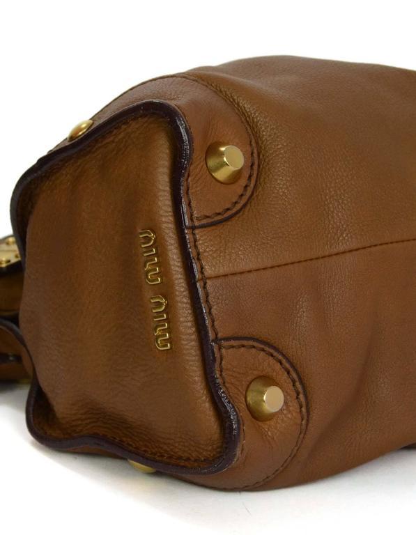 Women's Miu Miu Tan Leather Belt Buckle Tote Bag GHW For Sale