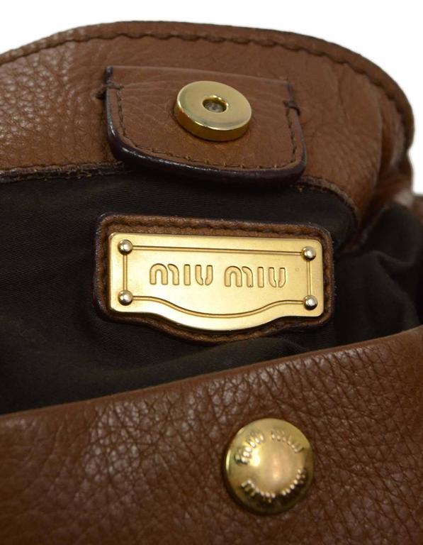 Miu Miu Tan Leather Belt Buckle Tote Bag GHW For Sale 2