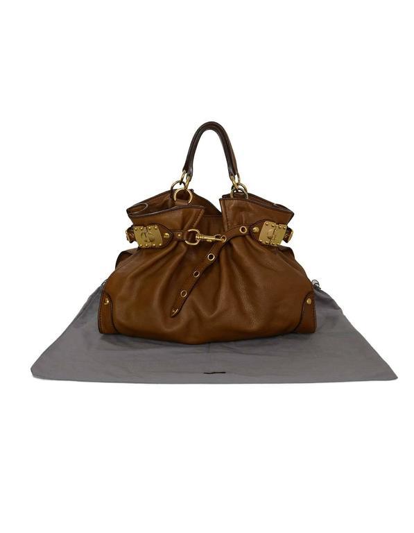 Miu Miu Tan Leather Belt Buckle Tote Bag GHW For Sale 4
