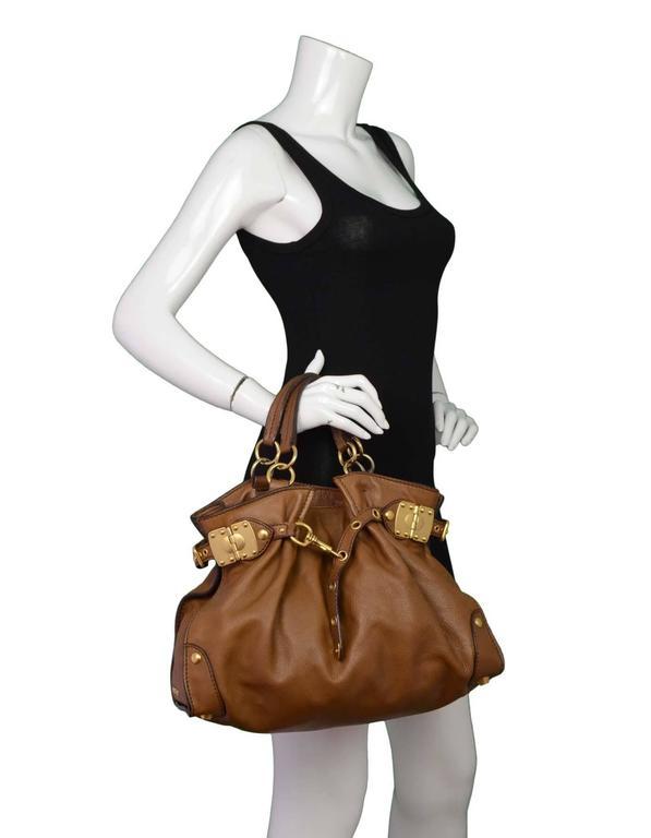 Miu Miu Tan Leather Belt Buckle Tote Bag GHW For Sale 5