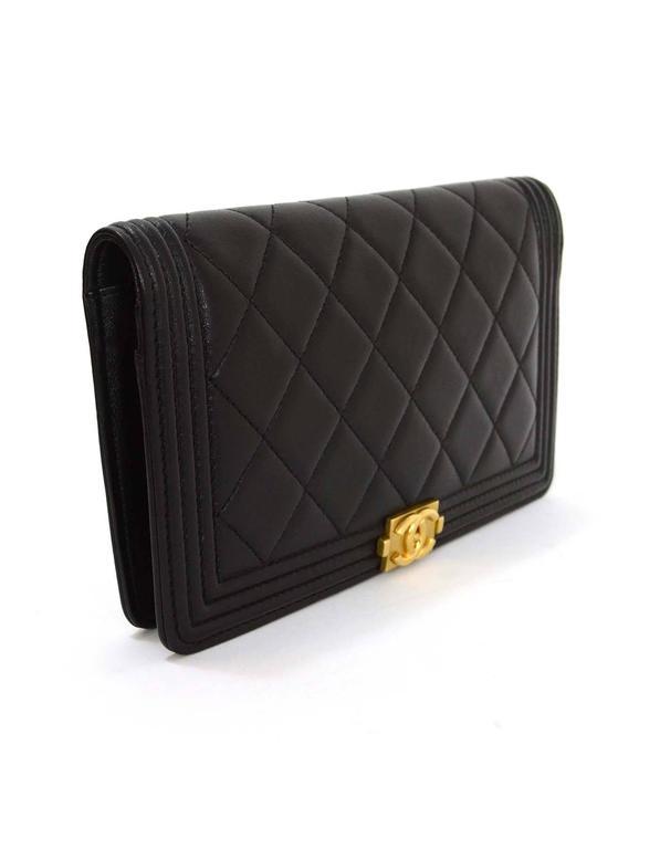 Chanel Black Lambskin Quilted Boy Yen Wallet Ghw For Sale