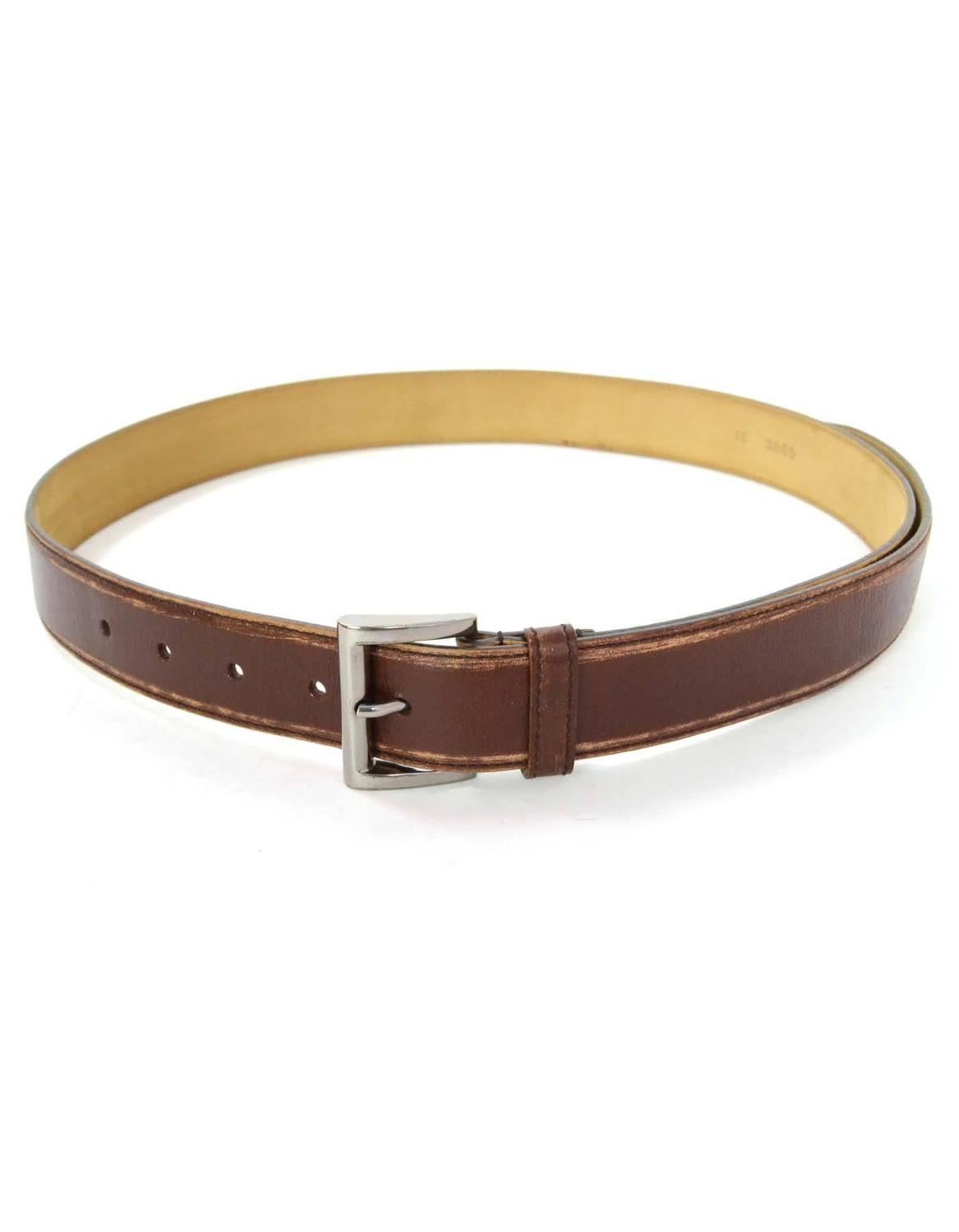 prada brown distressed leather belt sz 85 ghw for sale at