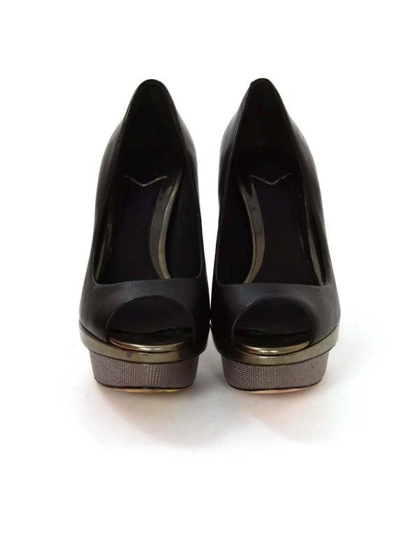 Brian Atwood Black Leather Peep-Toe Platform Pumps sz 6 3