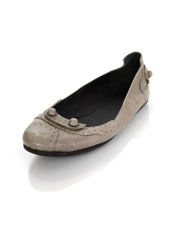 Balenciaga Grey Distressed Leather Flats sz IT37 2