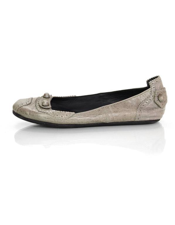 Balenciaga Grey Distressed Leather Flats sz IT37 3