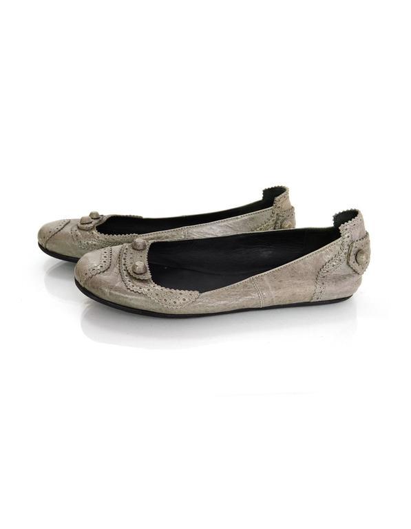 Balenciaga Grey Distressed Leather Flats sz IT37 4
