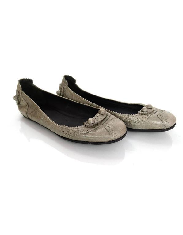 Balenciaga Grey Distressed Leather Flats sz IT37 6