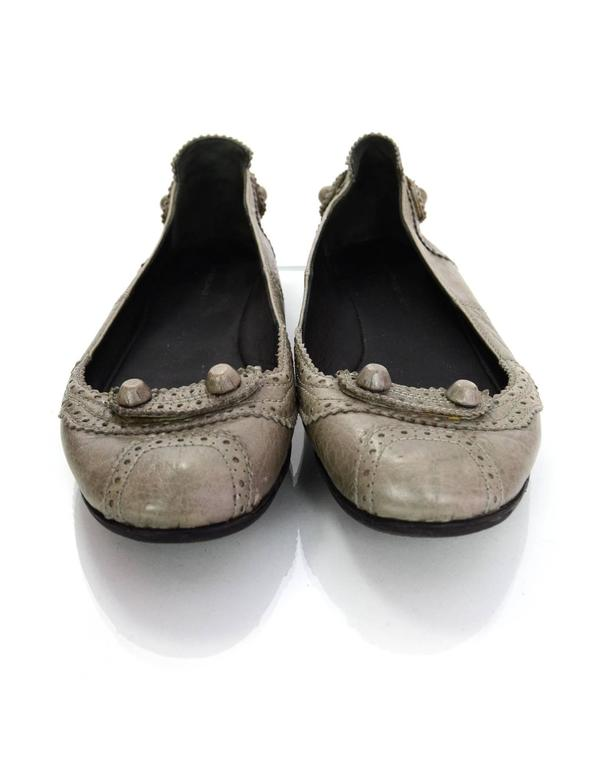 Balenciaga Grey Distressed Leather Flats sz IT37 5
