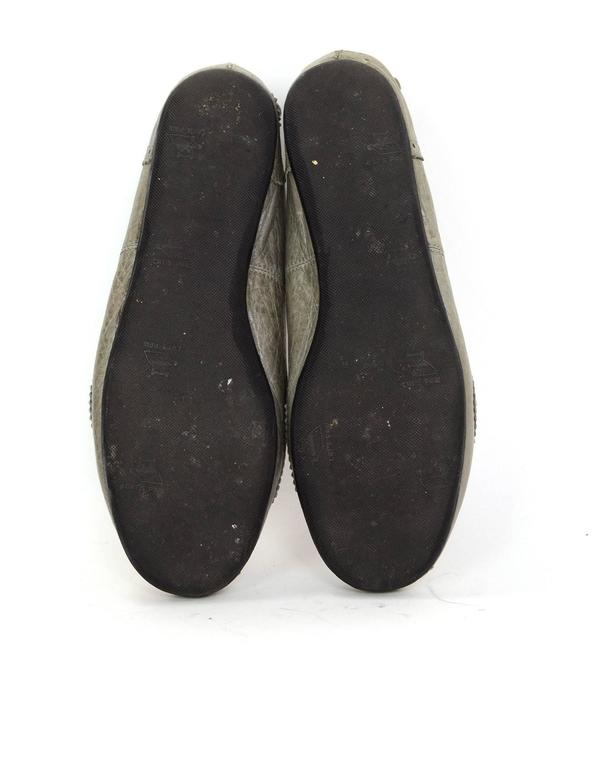 Balenciaga Grey Distressed Leather Flats sz IT37 7
