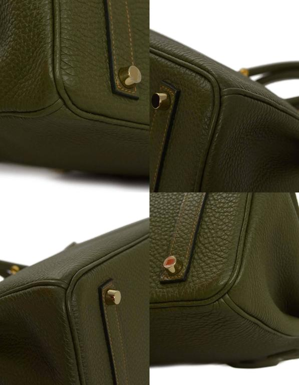 Hermes Olive Green Togo Leather Special Order 35cm Birkin Bag GHW 7