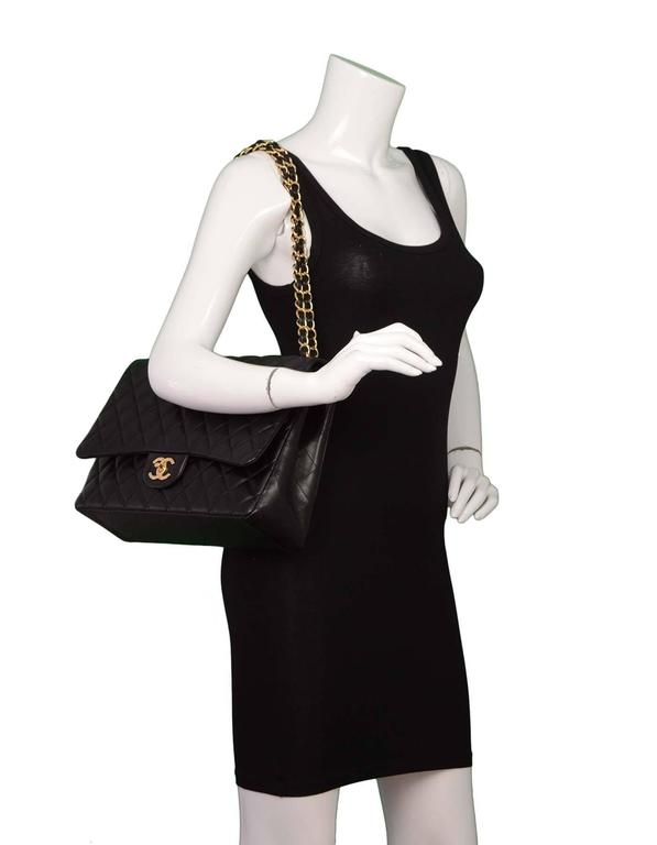 Chanel Black Quilted Lambskin Maxi Classic Double Flap Bag GHW 6