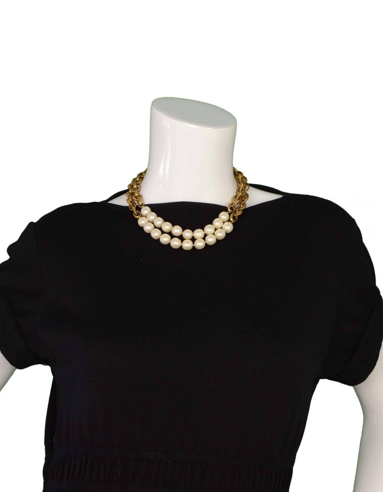 Chanel Vintage '80s Gold Cable Chain Link & Pearl Necklace For Sale 1