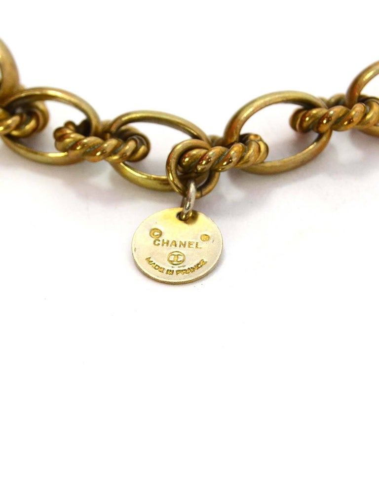 Women's Chanel Vintage '80s Gold Cable Chain Link & Pearl Necklace For Sale