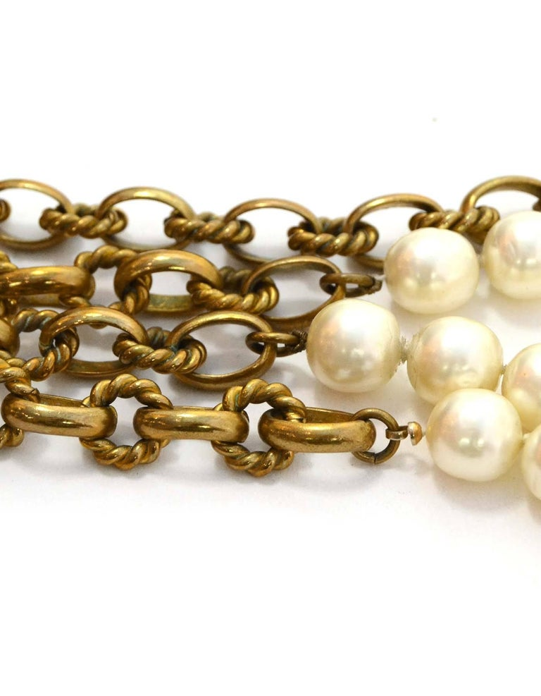 Chanel Vintage '80s Gold Cable Chain Link & Pearl Necklace In Good Condition For Sale In New York, NY