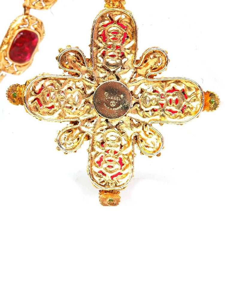 Chanel Vintage '70s-'80s Gripoix Maltese Cross Necklace 6