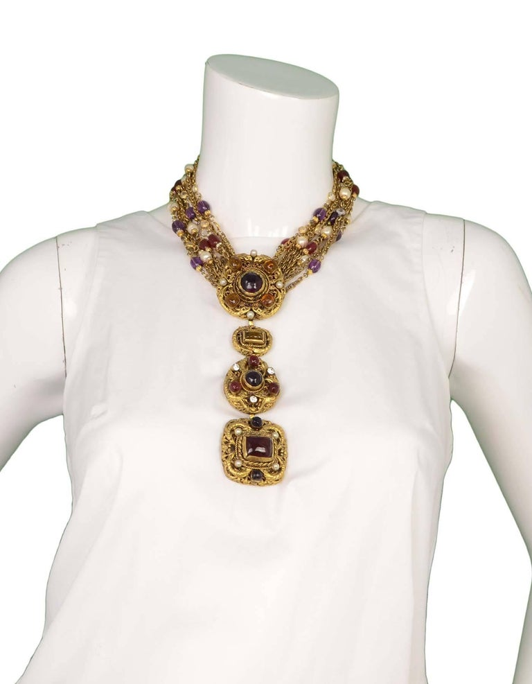 Chanel Vintage '84 Gold Multi-Strand Gripoix & Pearl Long Medallion Necklace 8