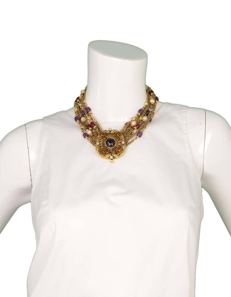 Chanel Vintage '84 Gold Multi-Strand Gripoix & Pearl Long Medallion Necklace 5