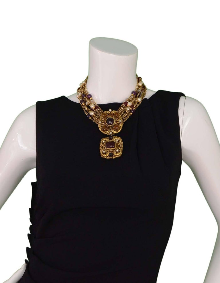 Chanel Vintage '84 Gold Multi-Strand Gripoix & Pearl Long Medallion Necklace 7
