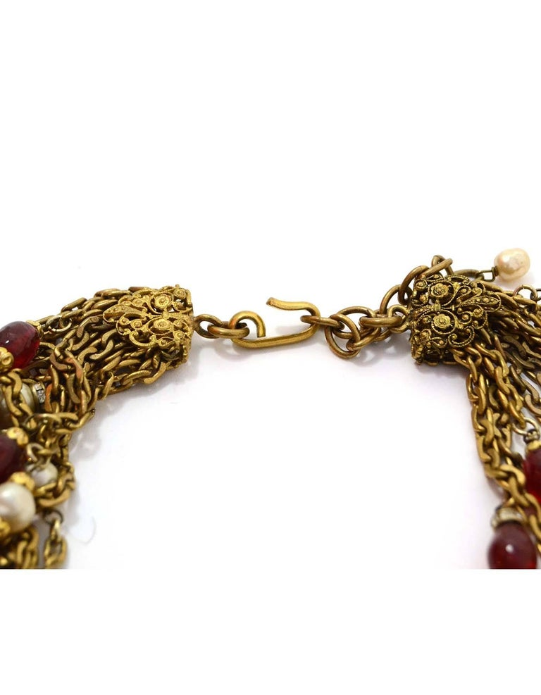 Chanel Vintage '84 Gold Multi-Strand Gripoix & Pearl Long Medallion Necklace 3