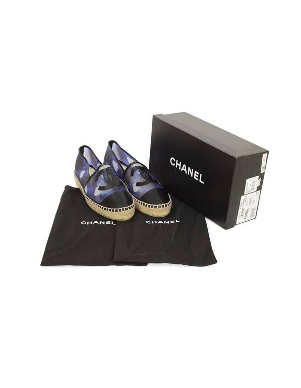 Chanel NEW 2016 Blue Mesh & Black Leather CC Espadrilles sz 39 4