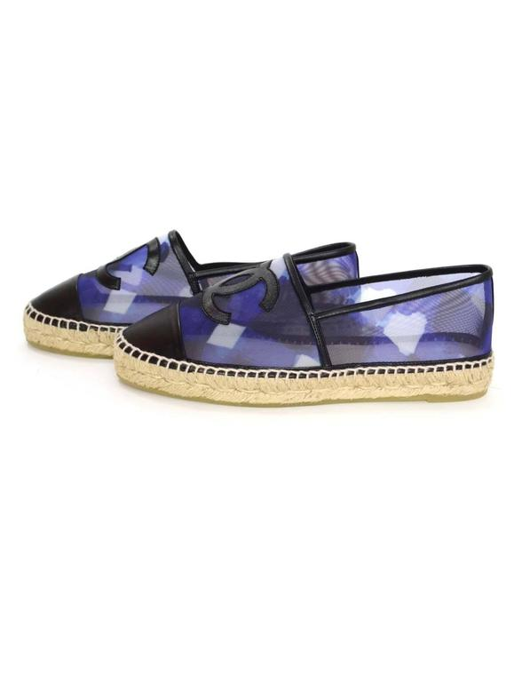 Chanel NEW Blue Mesh & Black Leather CC Espadrilles 