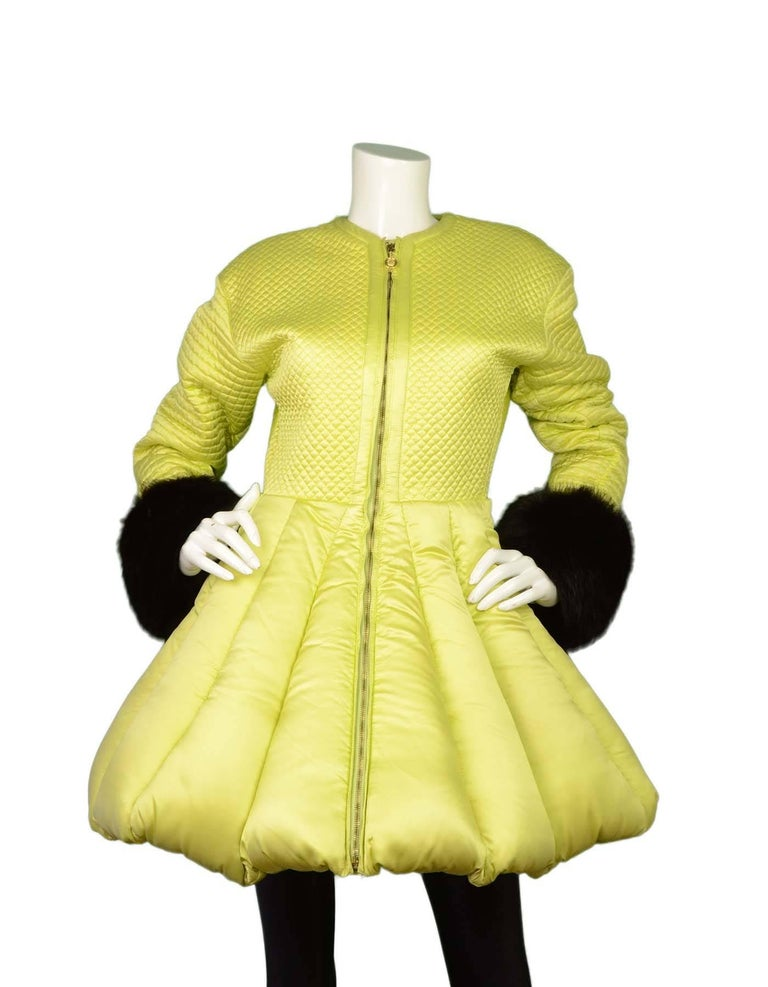Versace Lime Green Quilted Puffer Coat 