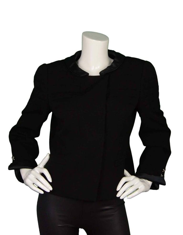 Chanel Black Wool Jacket with Sateen Trim Sz 44 2