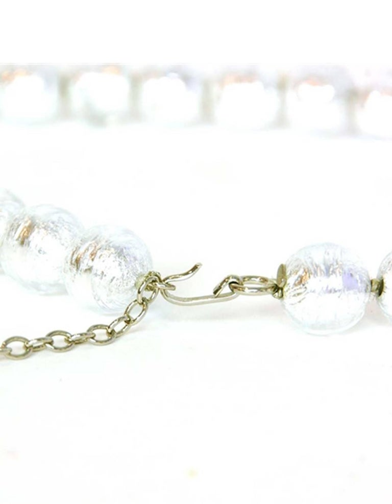 CHANEL Clear Bead & Silver Foil Necklace In Excellent Condition For Sale In New York, NY