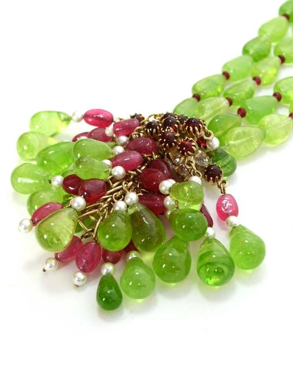 CHANEL Green/Red Two-Strand Necklace W/Glass, Crystals & Faux Pearl Cluster 2