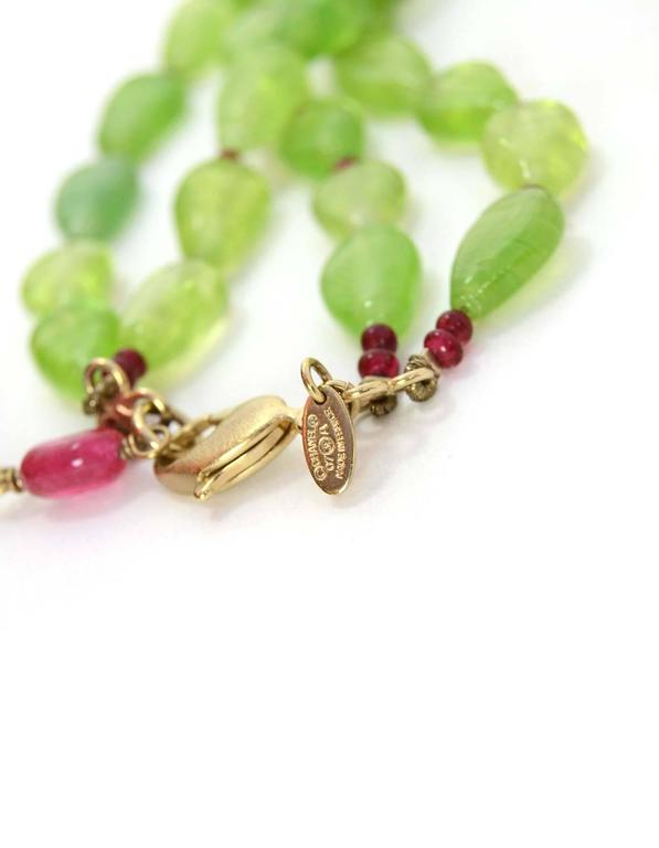 CHANEL Green/Red Two-Strand Necklace W/Glass, Crystals & Faux Pearl Cluster 5