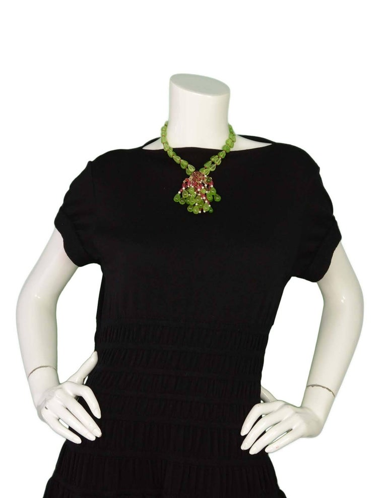 CHANEL Green & Red Glass Bead Double Strand Necklace 7