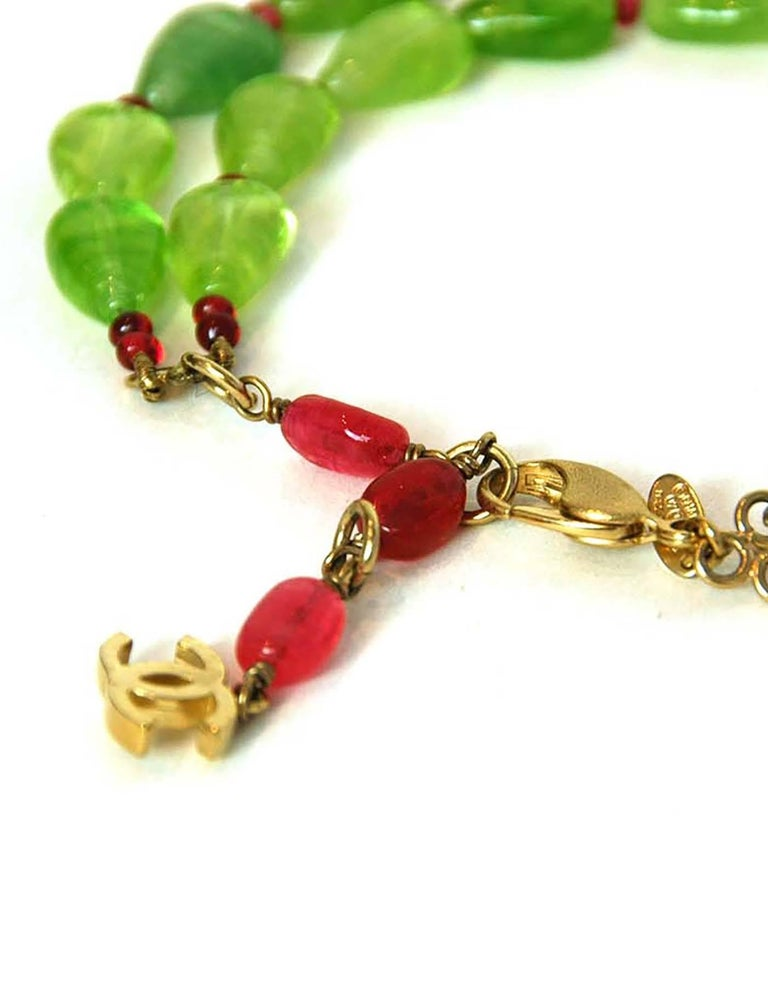 CHANEL Green & Red Glass Bead Double Strand Necklace 4