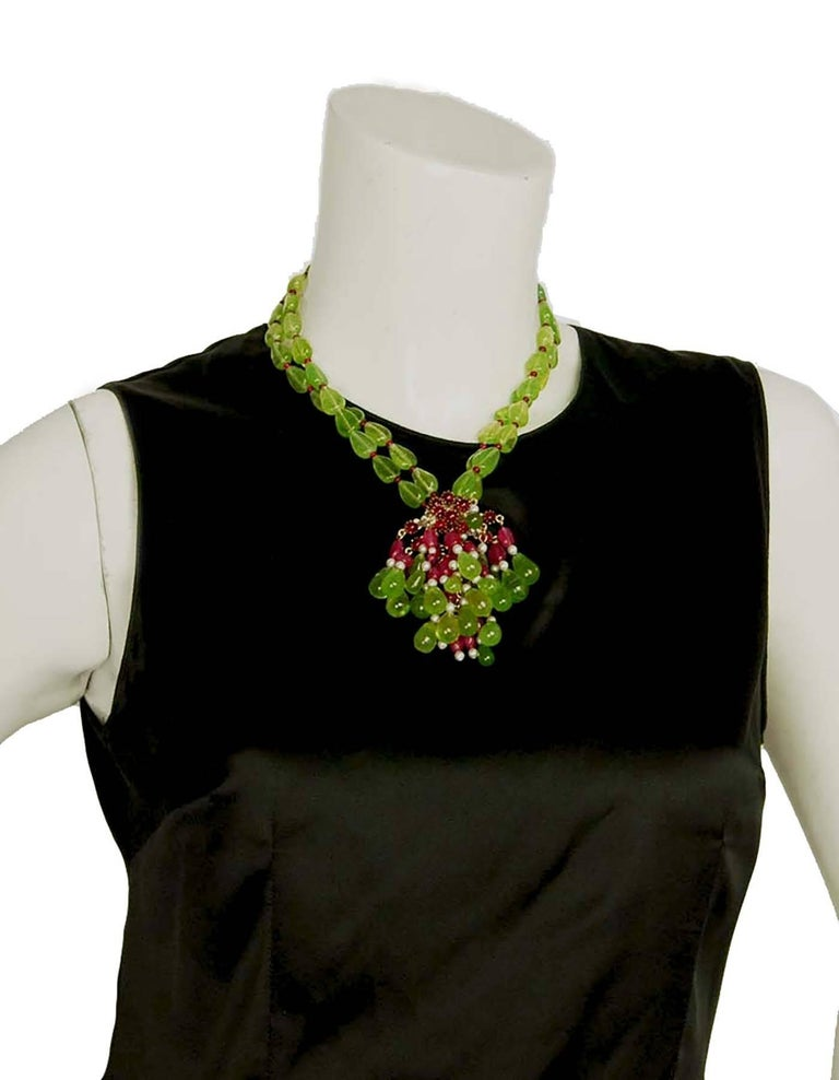 CHANEL Green & Red Glass Bead Double Strand Necklace 6