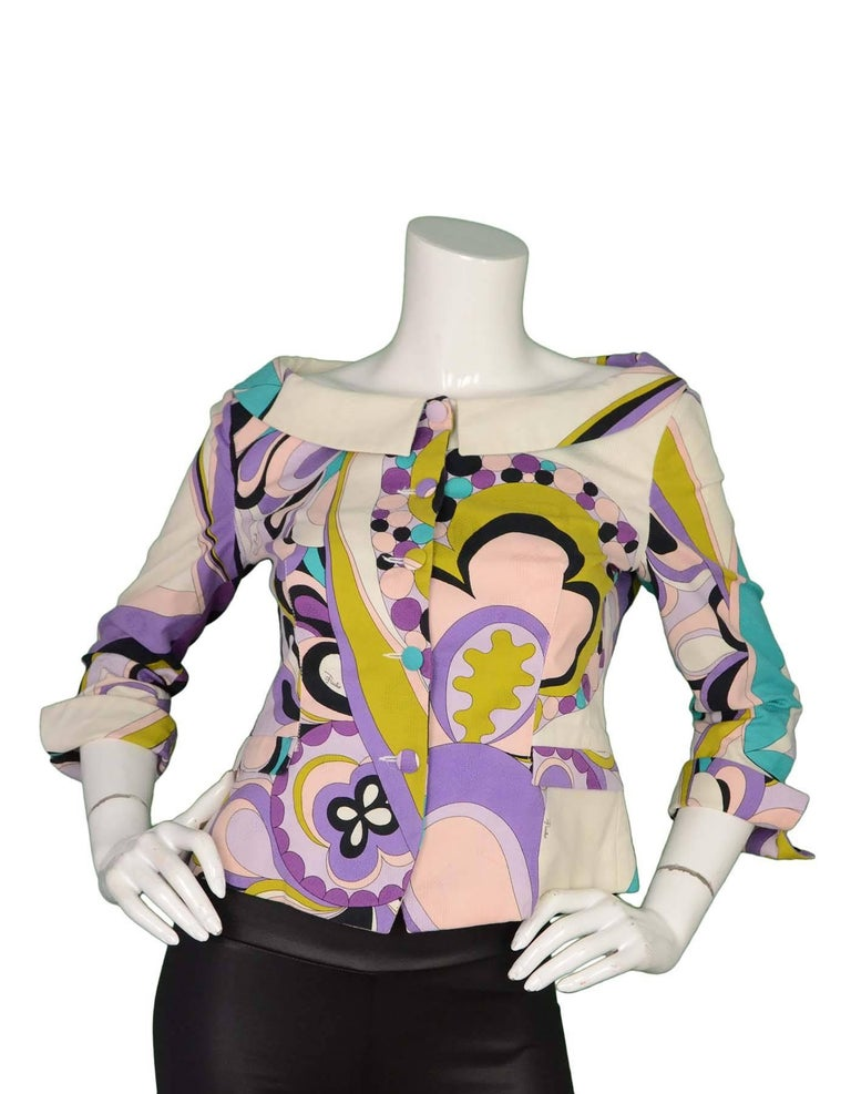 Emilio Pucci Purple, Pink and Green Print Jacket Sz 10 2