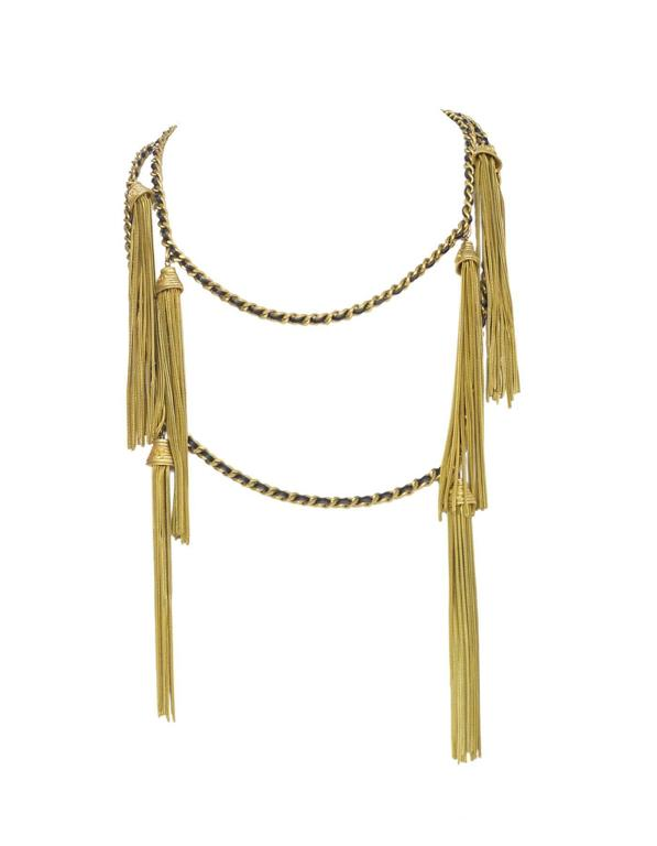 Chanel RARE Vintage '94 Leather & Chain Tassel Necklace 2