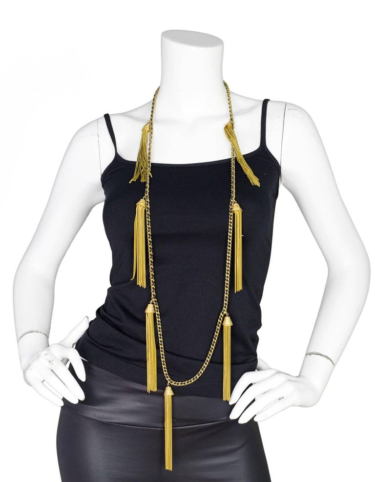 Chanel RARE Vintage '94 Leather & Chain Tassel Necklace 8